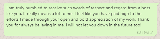 Thank You Reply to Boss for Appreciation