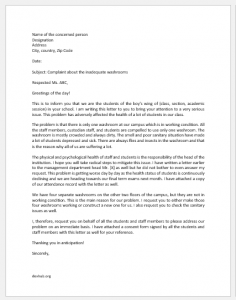 Complaint Letter to Principal about Inadequate Washrooms