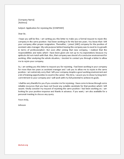 Letter to Previous Employer for Rejoining