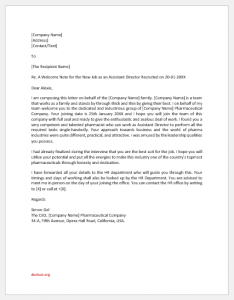 New Employee Welcome Letter from CEO