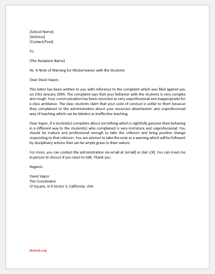 Warning Letter to Teacher for Misconduct with Students