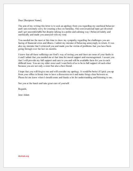 Apology letter ever best My Apology