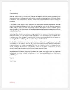 Complaint Letter about Teacher Beating