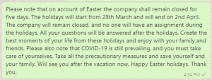 Easter Weekend Closure Messages