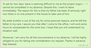 Leave Permission Text Message to Boss