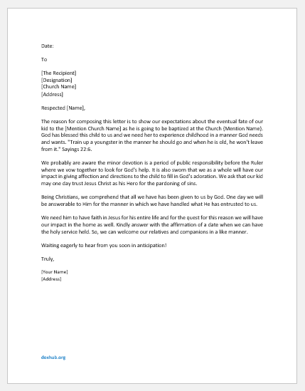 Letter to Church Board for Baptism