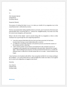 Resignation Letter During Probation due to Sexual Harassment