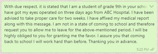 Sick Leave Message to Class Teacher