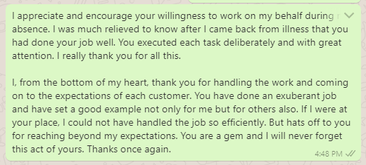 Thank You Message to Colleague for Working in Absence