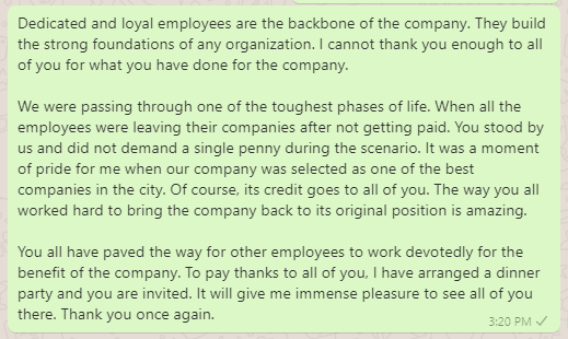 Thank You Message to Employees during Difficult Times
