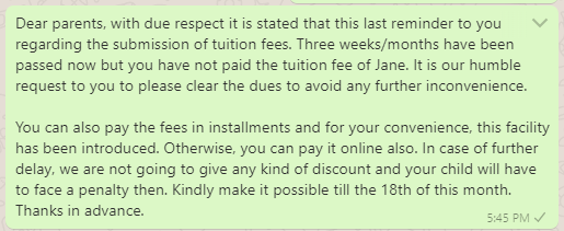 Tuition Fee Reminder Message to Parents