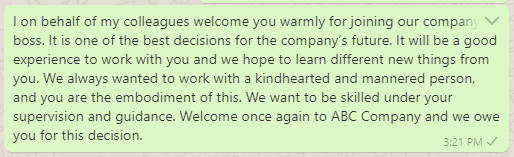 Welcome message to new boss