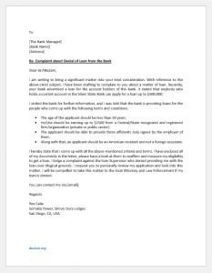Complaint Letter to Bank for Denial of Loan