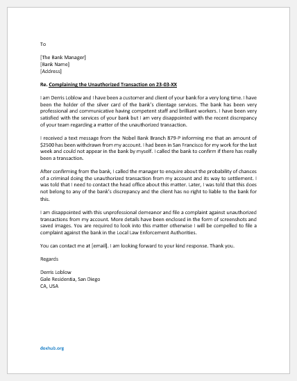 Complaint Letter to Bank for Unauthorized Transaction