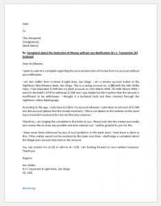 Complaint Letter to Bank for Usual Deduction of Money