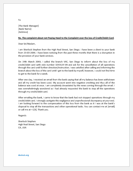 Strong Complaint Letter to Bank