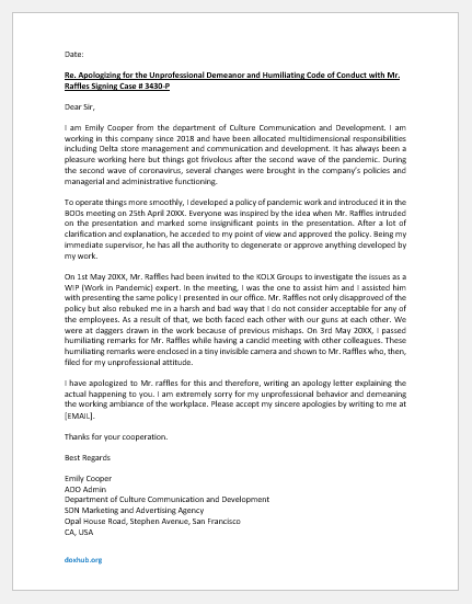 Apology letter for unprofessional attitude