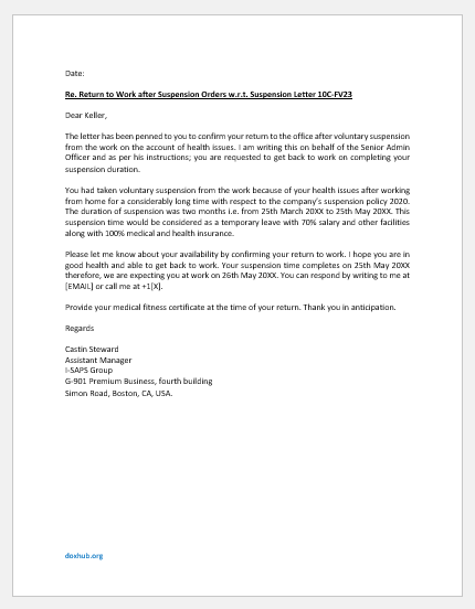 Letter Stating Return to Work after Suspension from Office