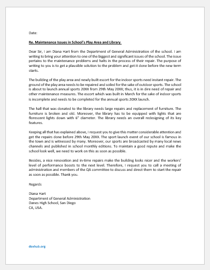 Letter on maintenance issues in school