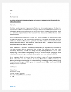 Notice to Staff to Maintain Attendance Register