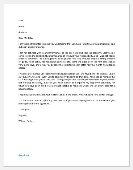 Building Management Responsibility Letter