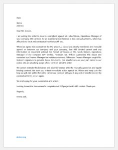 Complaint Letter for Intentional Interference with Contractual Relations