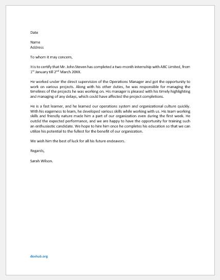 Internship Completion Letter Template