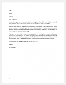 Letter Highlighting Permanent Change in Working Hours