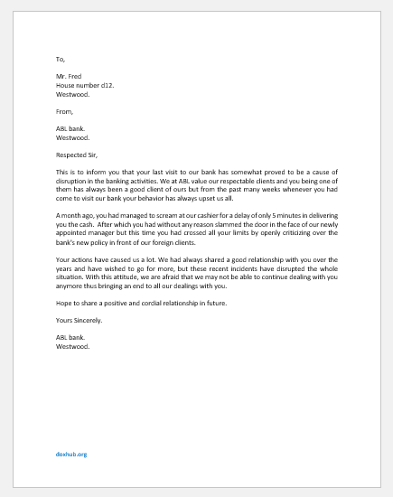 Letter to Client for Rude Behavior