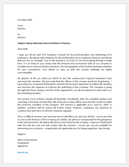 Salary Deduction Letter to Staff Due to Decline in Finance
