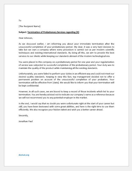 Termination Letter for Unsuccessful Probation