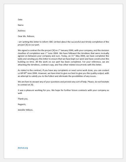 Work Completion Letter to Client