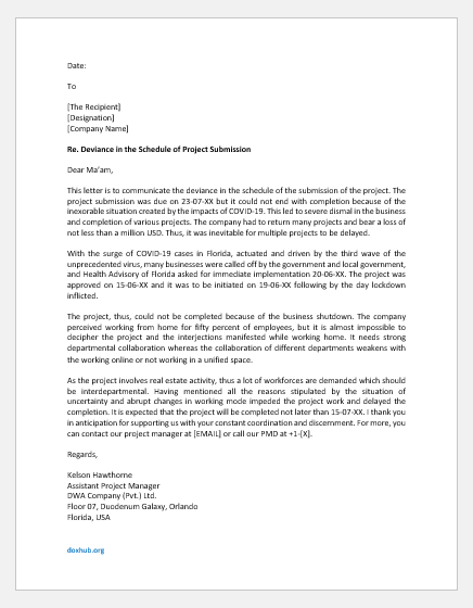 Excuse Letter for Submitting the Project Late