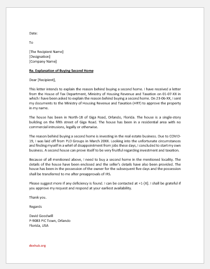 Letter of Explanation for Buying Second Home