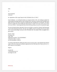 Letter of explanation for large deposit