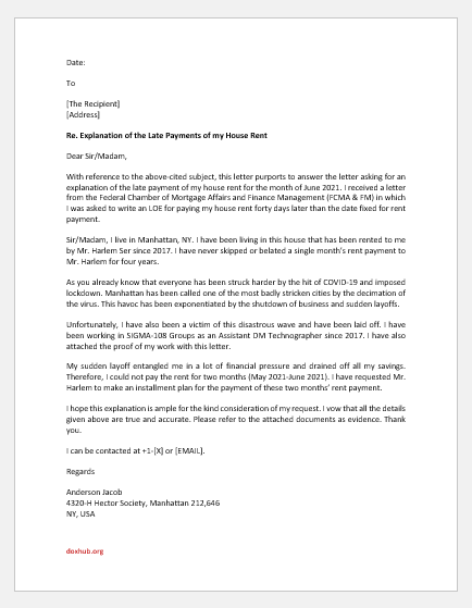 Letter of explanation on late payment