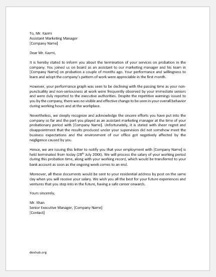 Probation termination letter template