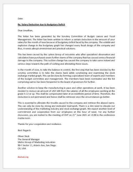 Salary Deduction Letter due to Crisis