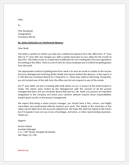 Salary Deduction Letter due to Uninformed Absence