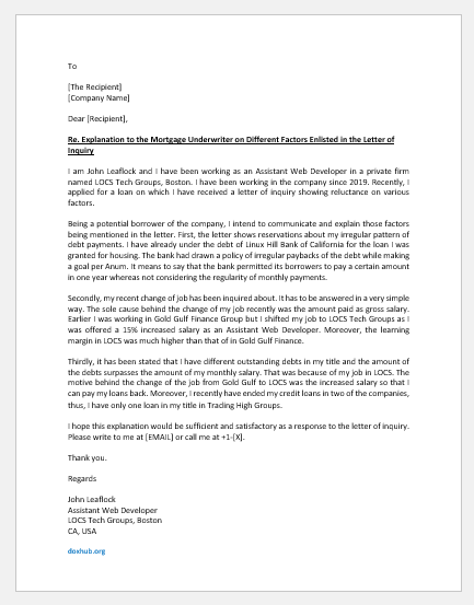 Underwritten Mortgage Letter of Explanation
