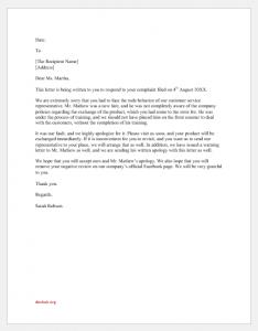 Company services complaint response letter