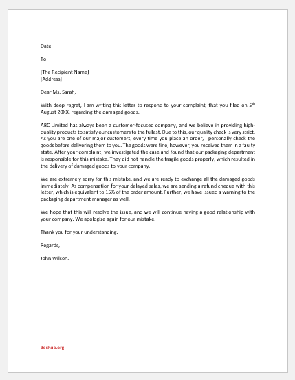 Damaged goods complaint response letter