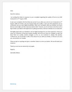 Food complaint response letter
