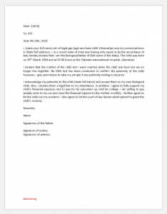 Letter Acknowledging Paternity