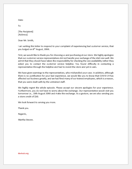 Letter Responding Concern of Customer Service