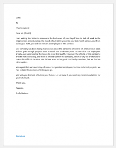 Letter of Layoff due to Lack of Work