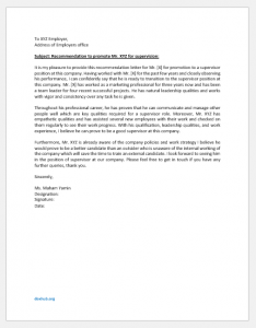 Recommendation Letter to Promote an Employee for Supervision