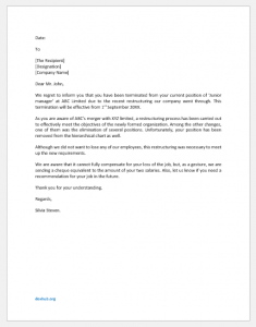 Termination letter due to restructuring
