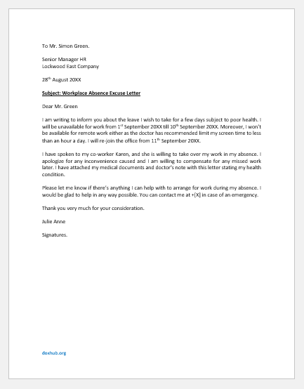 Workplace absence excuse letter