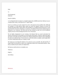 Complaint letter for parcel not received